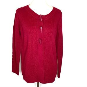 Reference Point Wine Red 3 Toggle Cable Cardigan M